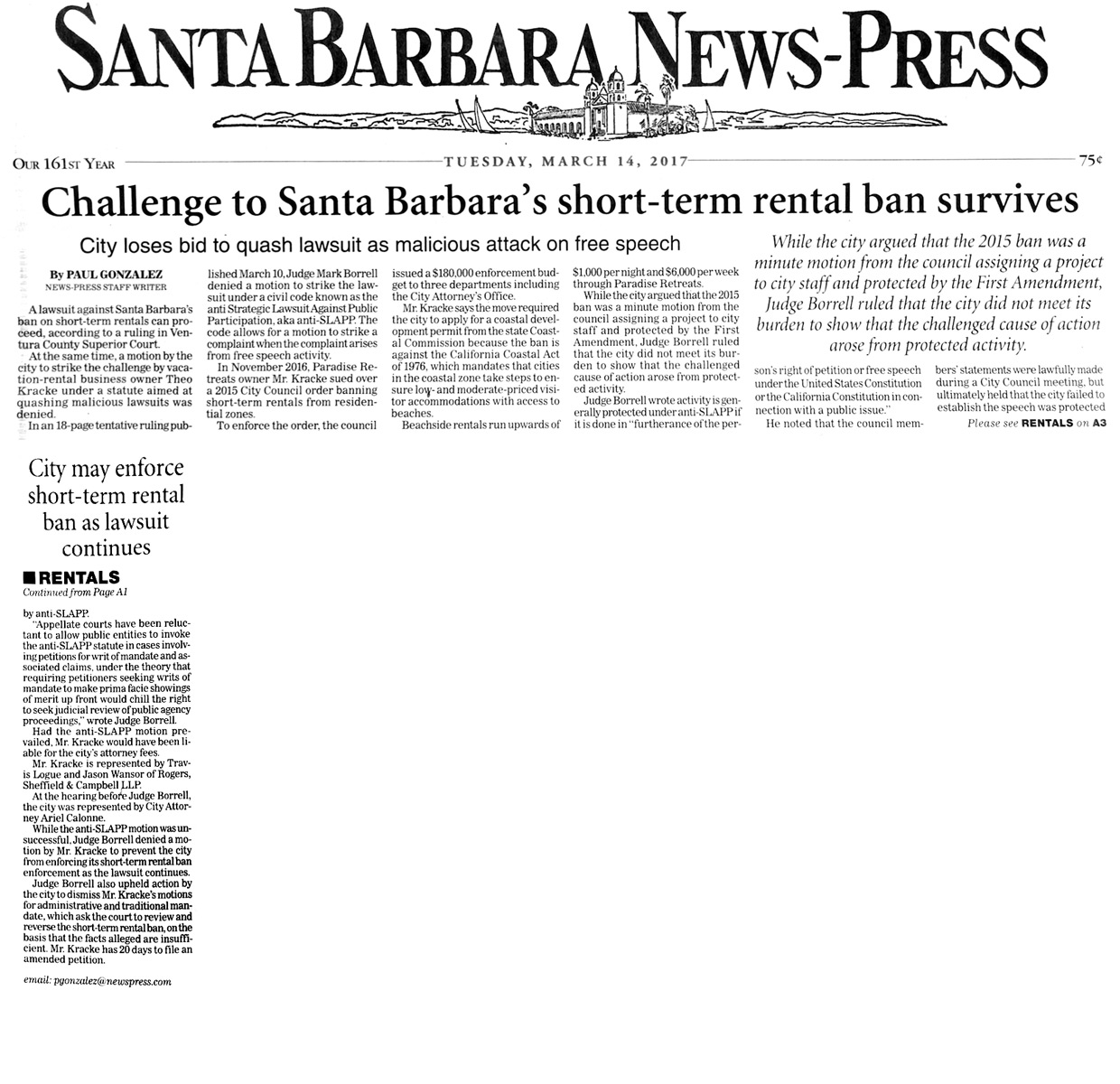 Challenge to Santa Barbara's Short-term Rental Ban Survives